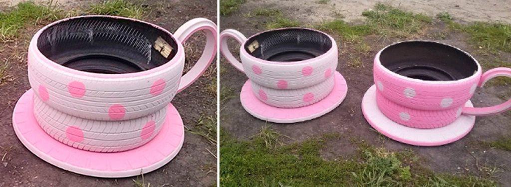 чашки сделанные из старых колес