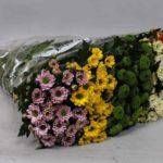 Букет из разных видов хризантем Сантини